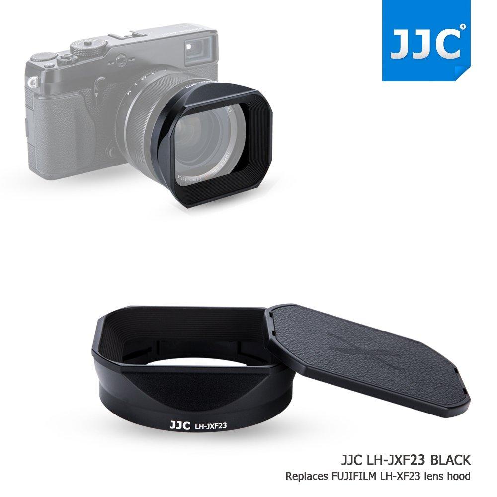 JJC Bayonet Black Square Metal Lens Hood Shade with ABS Slide-in Hood Cap for Fujifilm Fujinon XF 23mm F1.4 & 56mm F1.2 R (APD) on X-H1 X-Pro2 X-Pro1 X-T2 X-T1 X-T20 X-T10 replaces Fuji Hood LH-XF23 by JJC