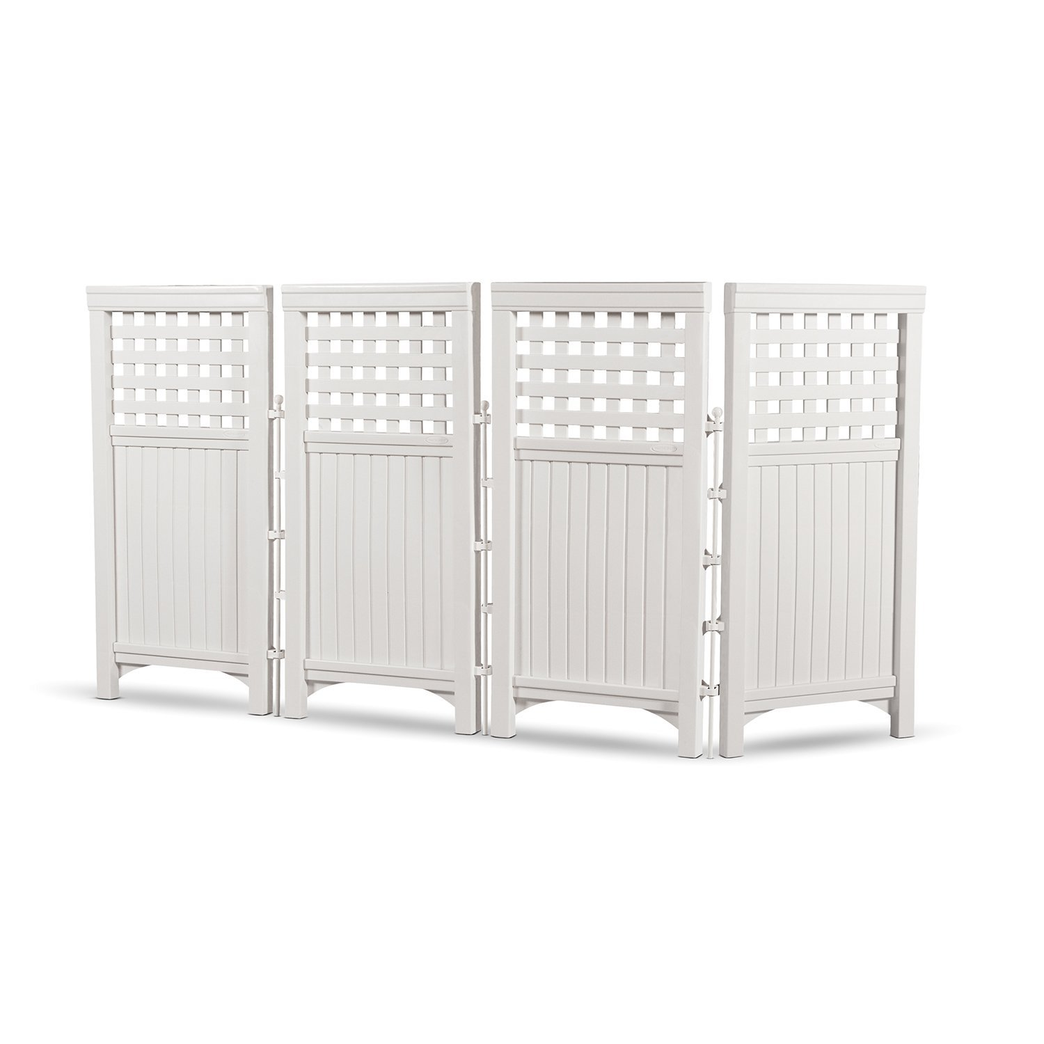 Suncast 4 Panel Outdoor Screen Enclosure - Freestanding Steel Resin Reversible Panel Outdoor Screen - Perfect for Concealing Garbage Cans, Air Conditioners - White - 44 Inches In Height