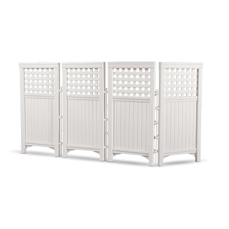 Patio Garden Decor Fences 4 Panel Durable Resin Wicker
