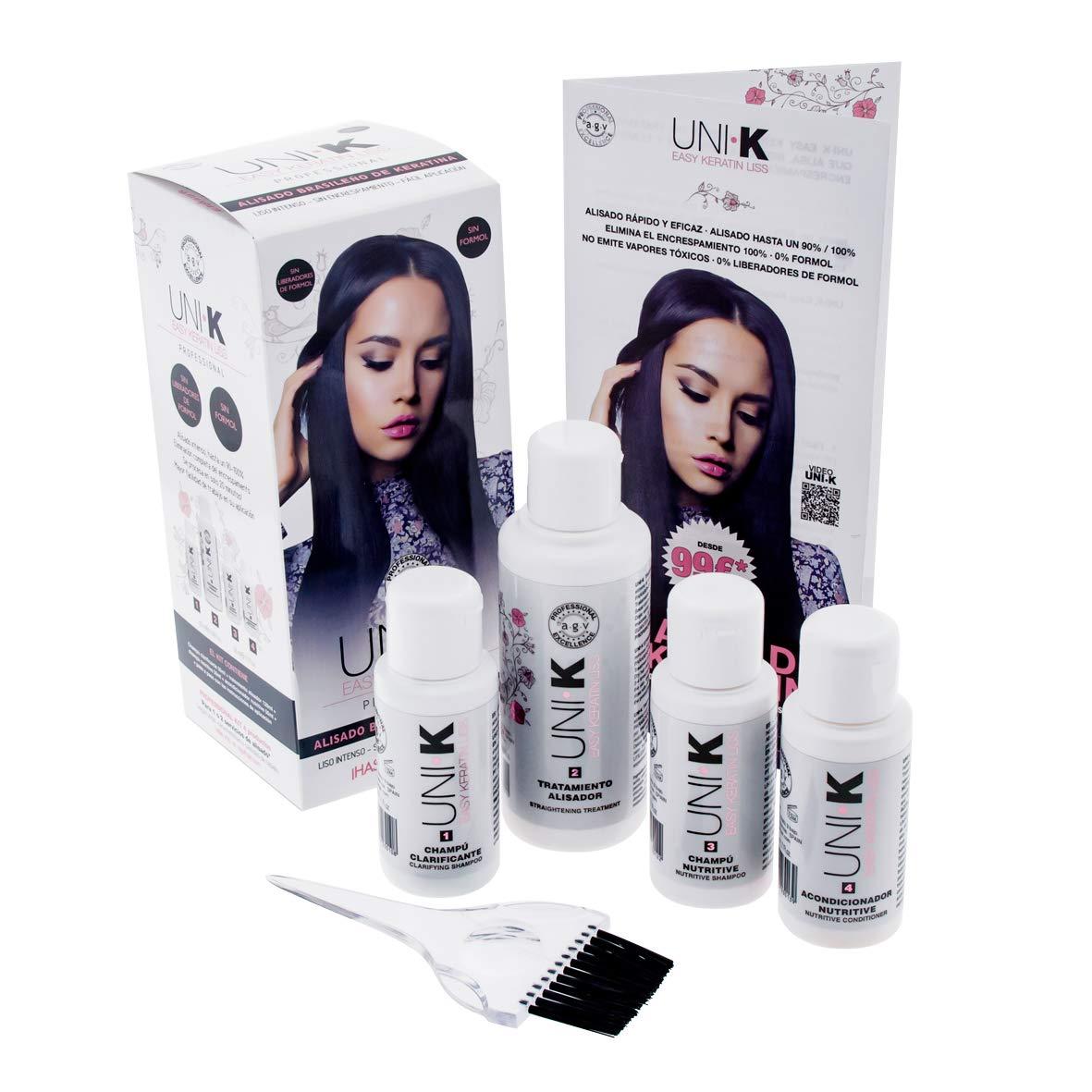 UNI.K Keratin Liss By AGV Kit - Pack Alisado Brasileño con Keratina (Queratina) Profesional sin Formol UNI K