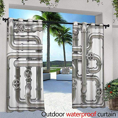 Faucet Beaded - LOVEEO Industrial Outdoor Curtains Maze of Pipelines Faucets and Valve Gasoline Engineering Themed Print Embossed Thermal Weaved Blackout 84