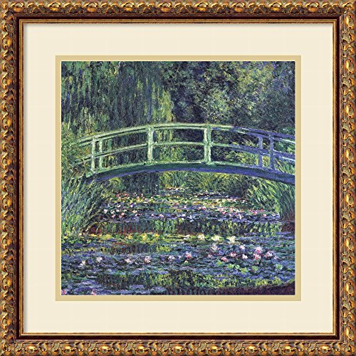 Framed Art Print, 'Water Lily Pond, 1899 (blue)' by Claude Monet: Outer Size 18 x ()