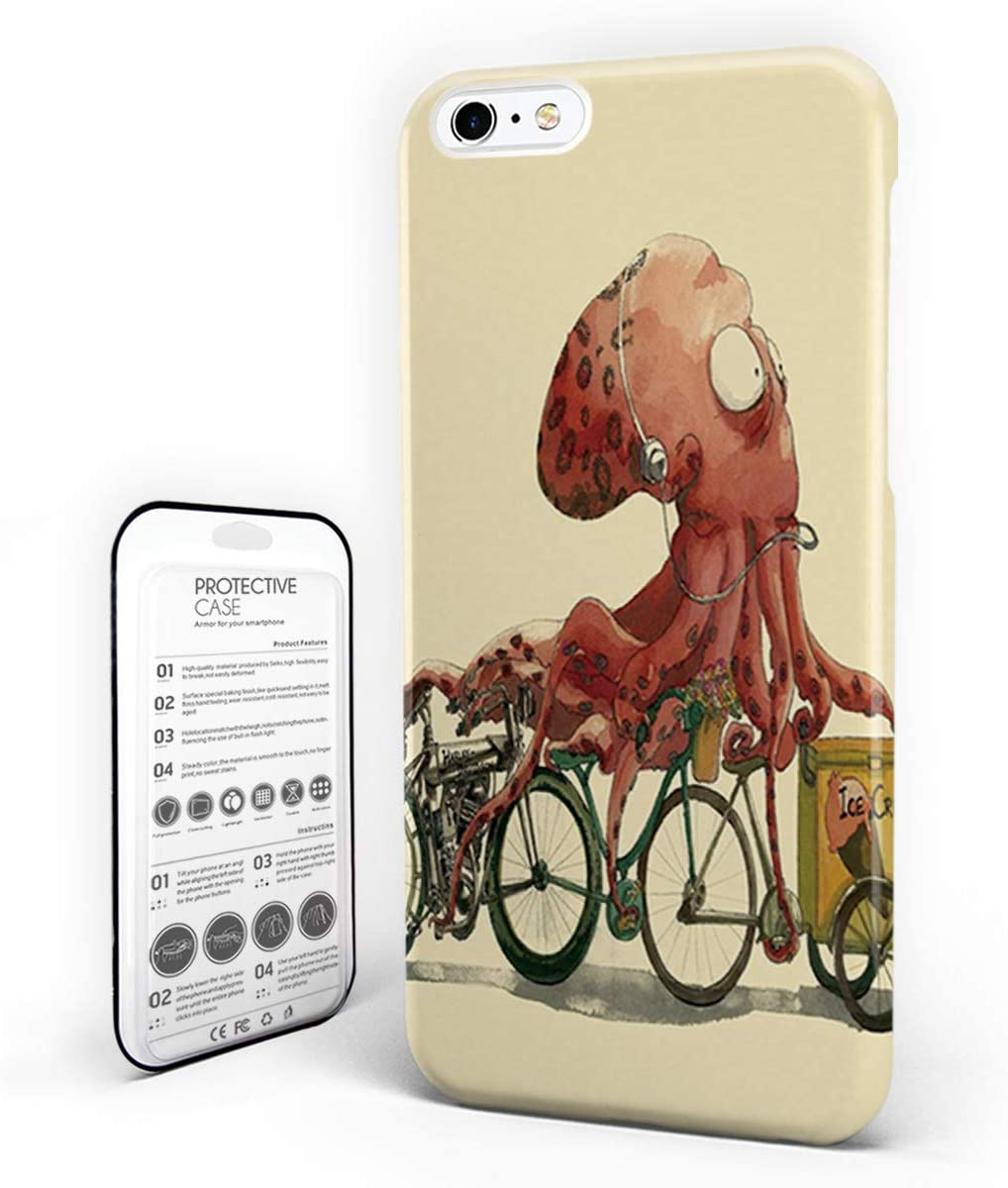 Amazon Com Cell Phone Case For Iphone 7 8 Cartoon Funny Bicycle And Octopus Pattern Skid Proof Anti Scratch Hard Slim Pc Phone Cover 4 7 Inch