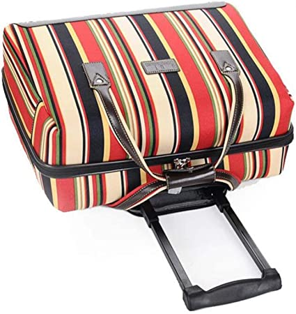 AQWWHY 18 inch Striped Carry On Trolley Suitcase Oxford Cloth Waterproof Luggage Box Universal Wheel Suitcase for Women Travel Outdoor