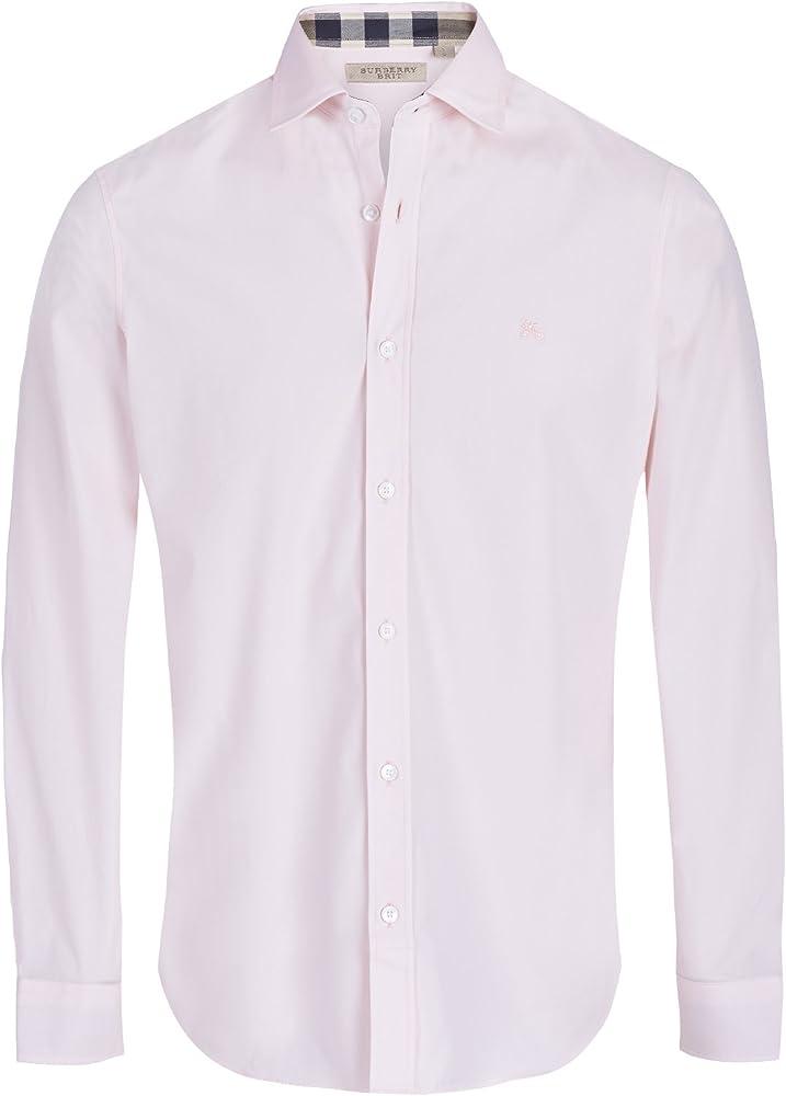 BURBERRY - Camisa casual - para hombre Rosa Large: Amazon.es: Ropa y accesorios