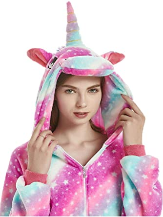 98af97c6f45b Amazon.com  QQonsie Adult Onesies for Women Unicorn Pajamas Men Teen Girl Halloween  Costumes  Clothing