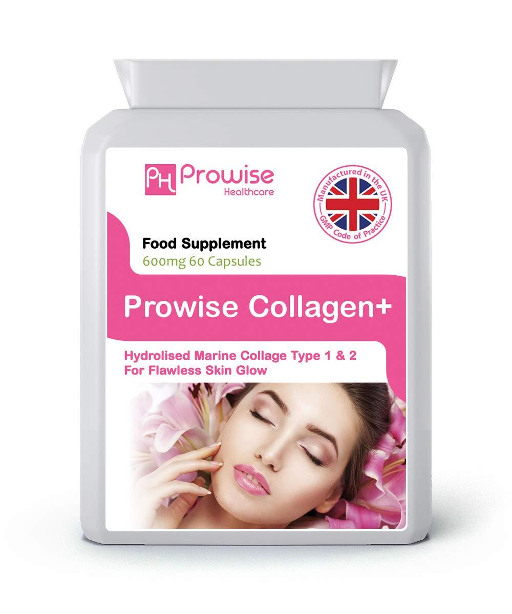 Pure Colágeno Marino Cápsulas 60 x 600mg - Hidrolizado Tipo 1 & Tipo 2 Colágeno - Alta Resistencia Cuidado de la Piel y Suplemento de Salud Conjunto - ...