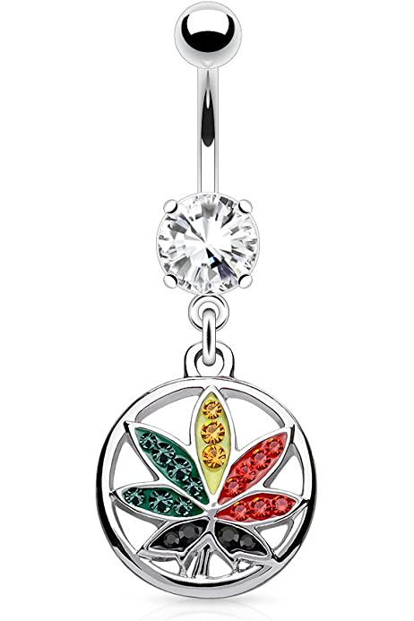 Dynamique Multi Color Crystals Paved Pot Leaf in Circle Dangle 316L Surgical Steel Belly Button Ring