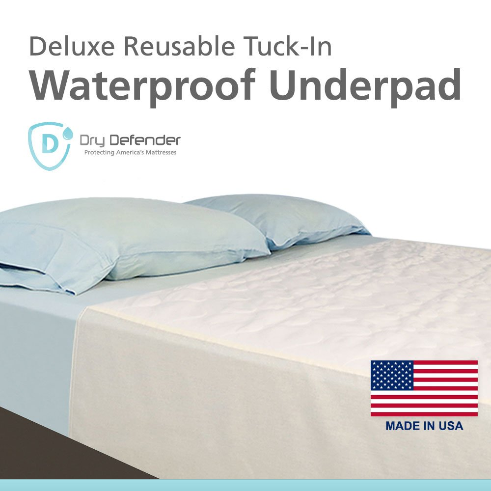 Washable Waterproof Mattress Sheet Protector Bed Extra Large Underpad - 36in x 70in with Tuck-in Tails by Dry Defender (Image #1)