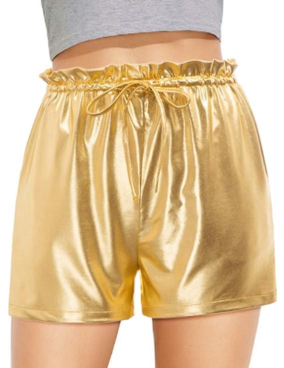 Women's Yoga Hots Shorts Shiny Metallia Pants with Pocket