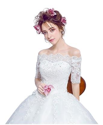 11f8868dcb6fe ウエディングドレス 安い ウェディングドレス 袖あり プリンセスラインドレス ホワイト 結婚式 ドレス ブライダル 二次会