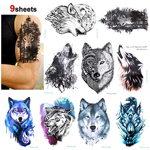 Konsait 9 Sheet Wolf Temporary Tattoo Sticker for Adult Women Men Fashion Body Art Waterproof Temporary Tattoo Fake Tattoo Arm Hand Back, 21X15cm