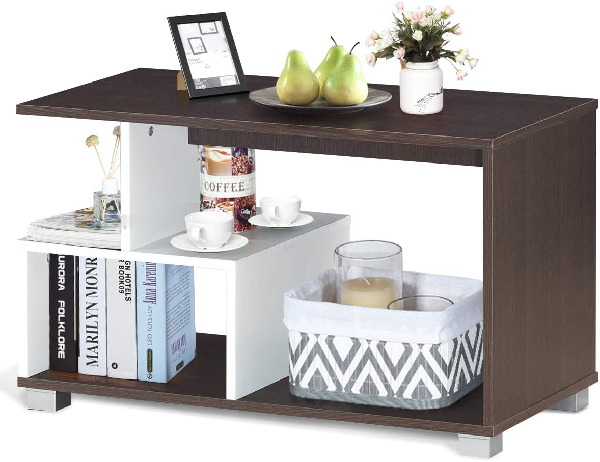 Giantex Coffee Table 3-Tier Rectangular
