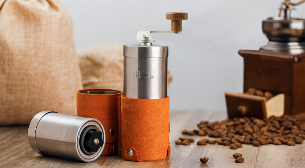 2018 New Portable Manual Coffee Grinder Set Professional Conical Ceramic Burrs Stainless Steel Grinder Easy to Clean for Home Travel Outdoor by RioRand (Image #9)
