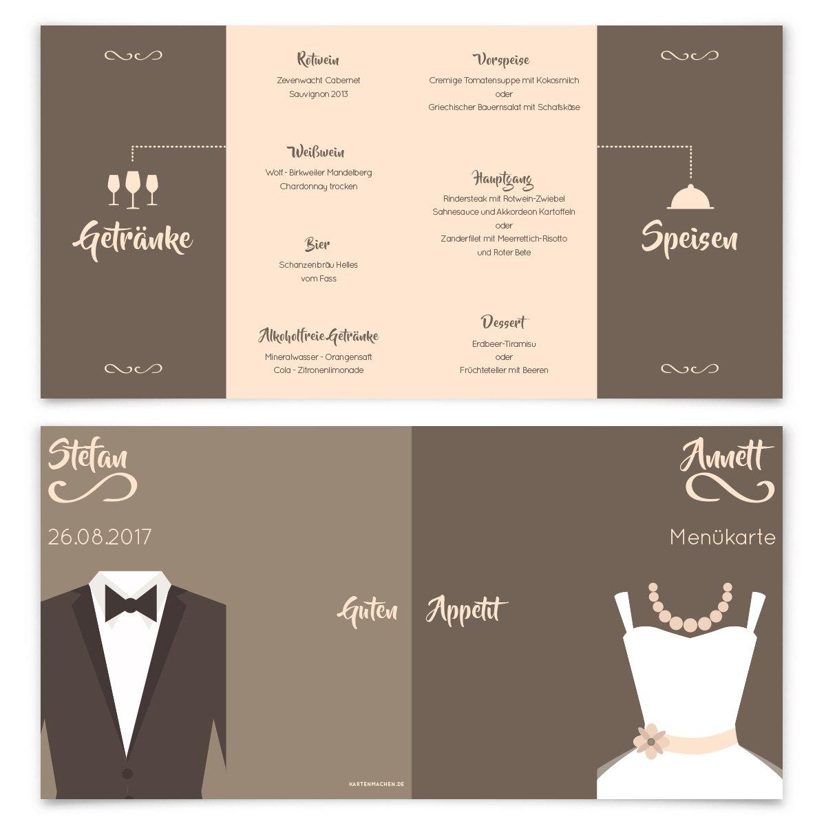 Menükarten Hochzeit (60 Stück) - Braut und und und Bräutigam Altarfalz in Braun - Speisekarte B01NCETKCU | Billig  | Vorzüglich  | Für Ihre Wahl  e4b90a