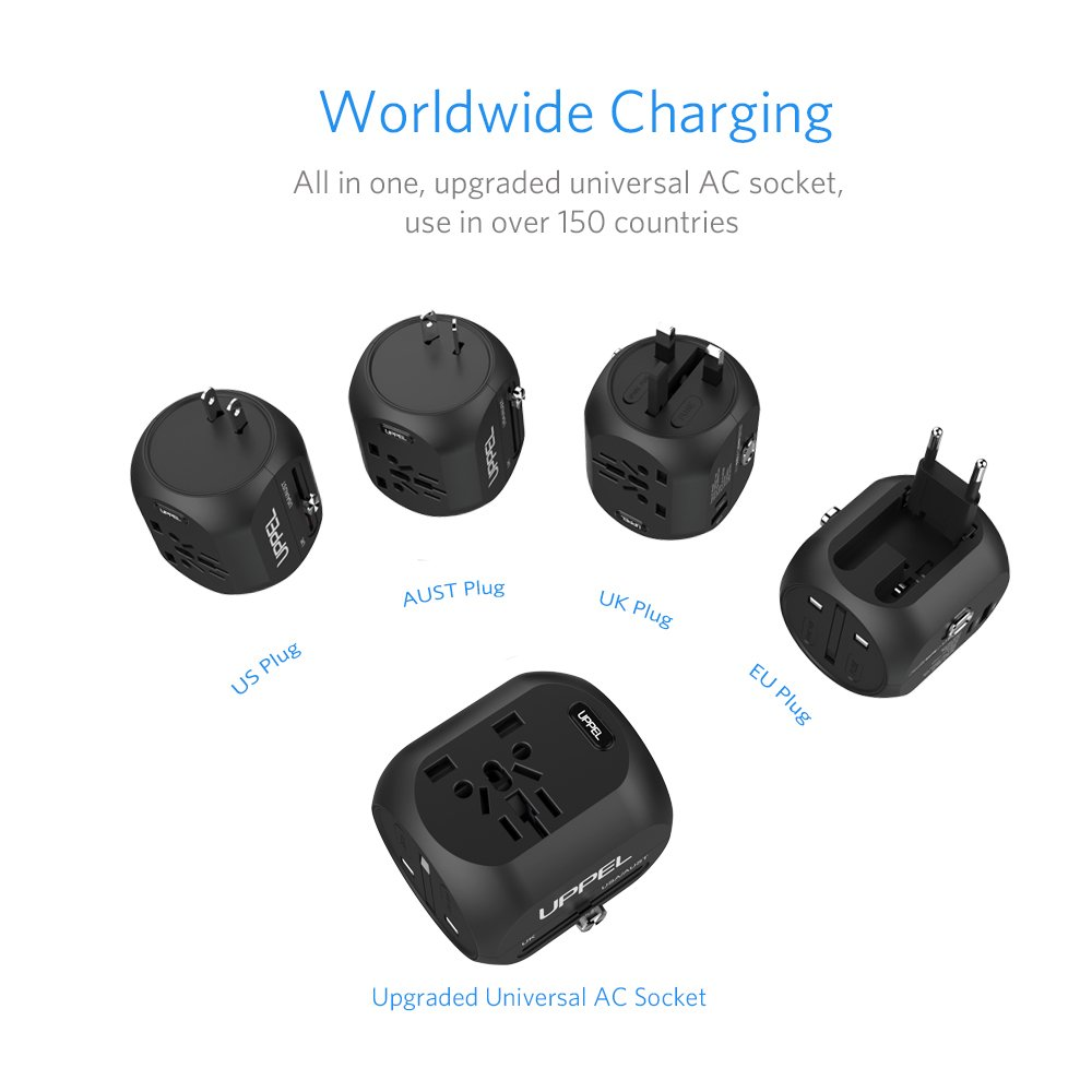 Uppel Universal Travel Adapter Plug With Usb And Type C Australian Dual 3 Pin Socketoutlet Construction Port All In One International Power Converter 100 240voltage For Us Au Asia Europe