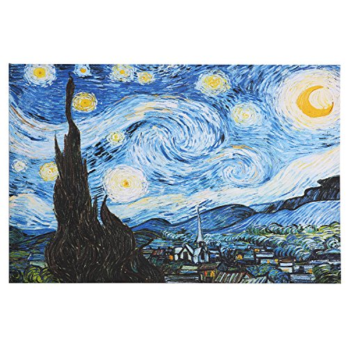 30x40 Inch - Starlit Night Giclee Canvas Prints By Van Gogh Famous Oil Paintings Replica Wall Art Decor Printed - Canvas Replica Painting