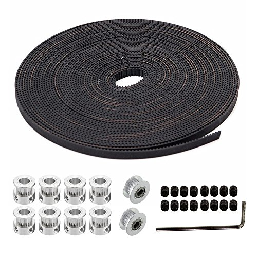 SIMPZIA 8Pcs 20Teeth Timing Pulley Wheel 5mm and 5 Meters GT2 Timing Belt with 2 Pieces Aluminum Idler Pulley for 3D Printer, Reprap and Prusa