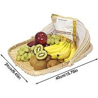 PITCHBLA Cesta de Comida Tejida a Mano, Almacenamiento de Tapa de Pan de Frutas con Tapa de Gasa de Malla Cesta de…