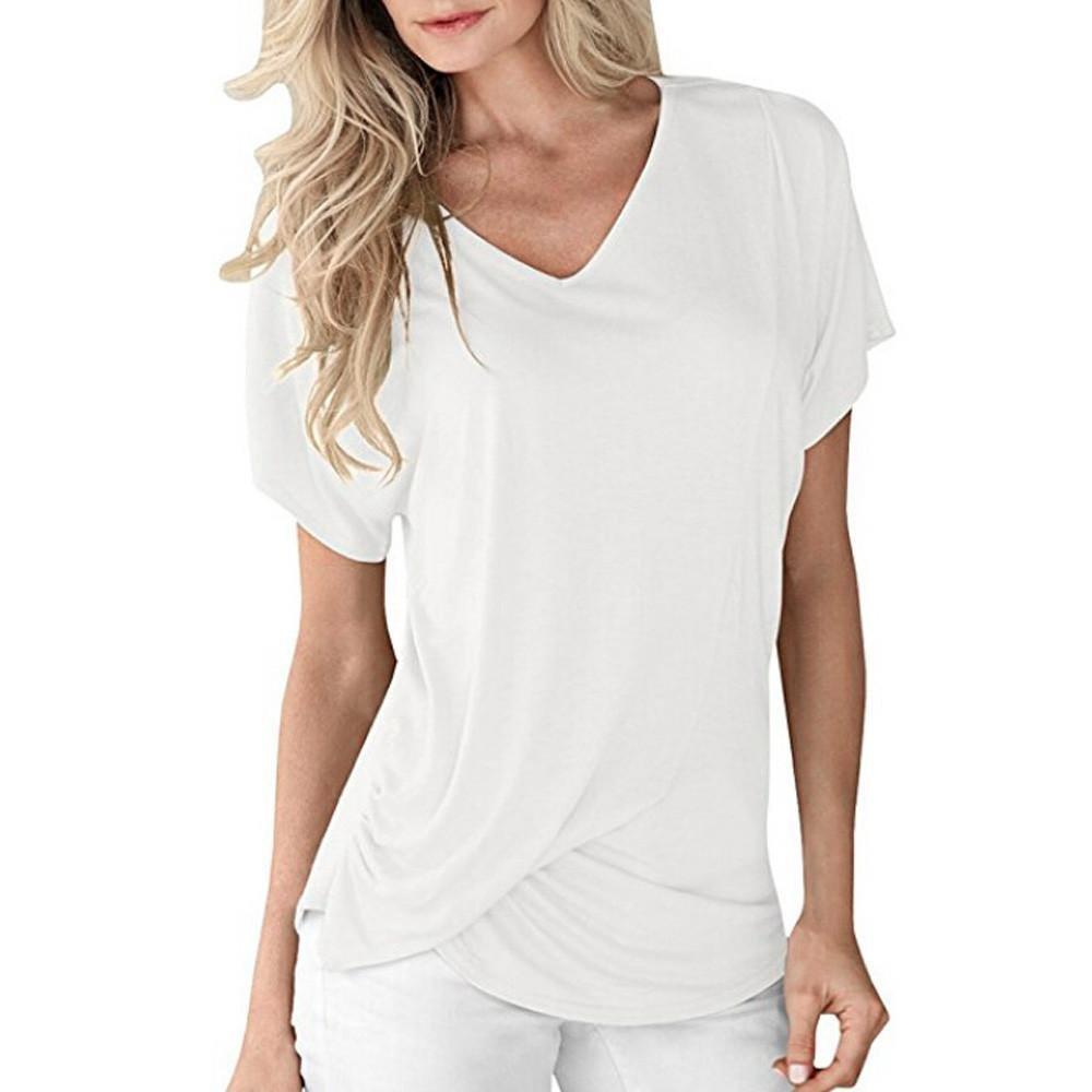 d862d53389 Beautyjourney T-Shirt Uni Femme, Blouses Femmes Femmes V-Neck Manches  Courtes Drap/éEs Plaine ...