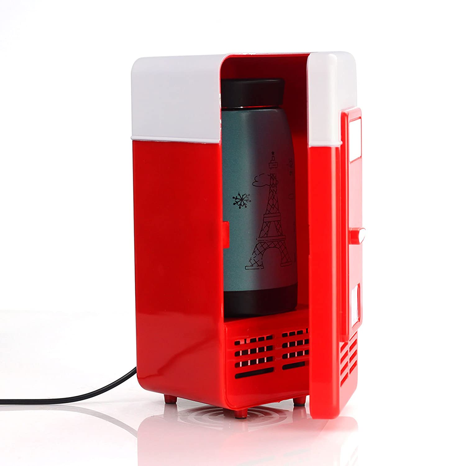 Lychee 5V USB Power Operated Portable Mini Fridge With Cooling and Heat Function,Cool Refrigerator For Office Desktop PC Car