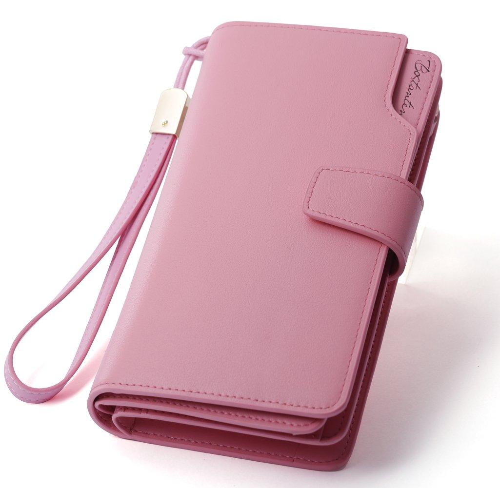 BOSTANTEN Womens Rfid Blocking Wallets Leather Wristlet Long Clutch Cash Card Holder Wallet Pink