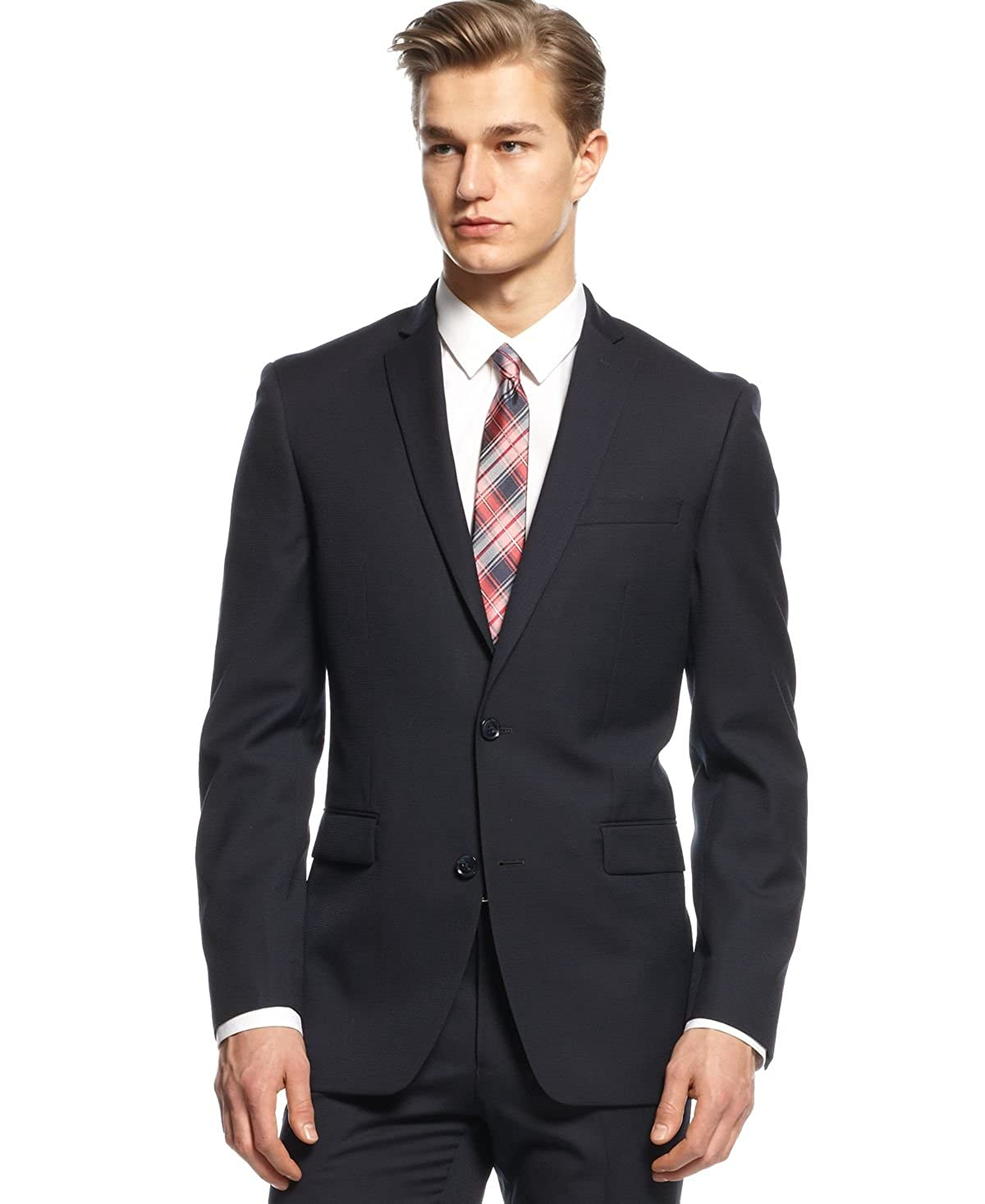 pretty nice 17261 48e4f Bar III Navy Tonal Check Slim-Fit Jacket (Navy, 40L) at Amazon Men s  Clothing store