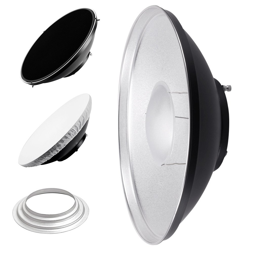 PIXAPRO White White- 42cm, Fitting- Elinchrom 42cm Studio Strobe Flash Beauty Dish for Elinchrom with Honeycomb Grid and Diffuser Compatible with Flash Heads white interior
