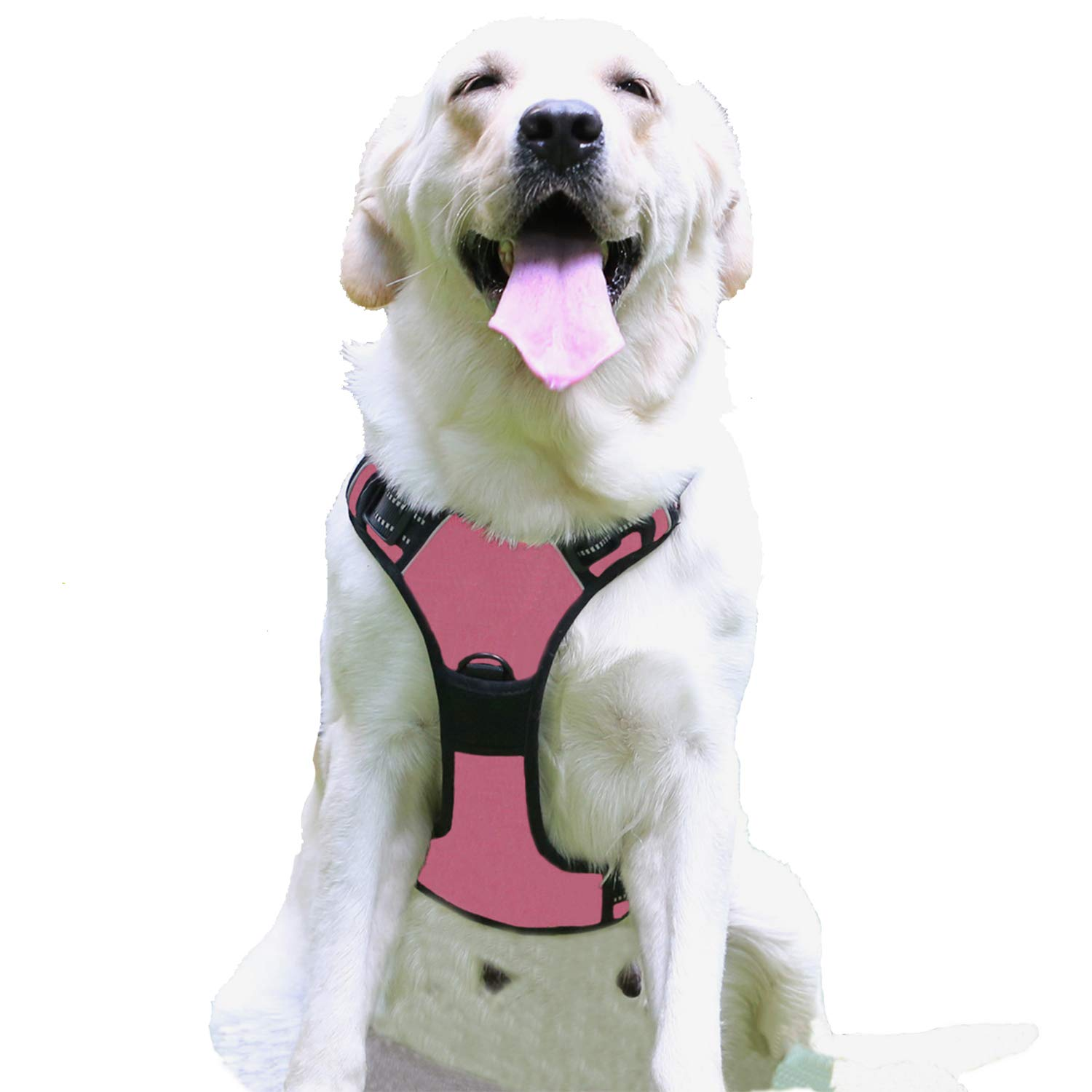 pink Large pink Large Eackrola Dog Harness No Pull Pet Harness Adjustable Outdoor Pet Vest 3M Reflective Oxford Compound Material Vest for Dogs Easy Walk Control for Small Medium Large Dogs (pink,L)