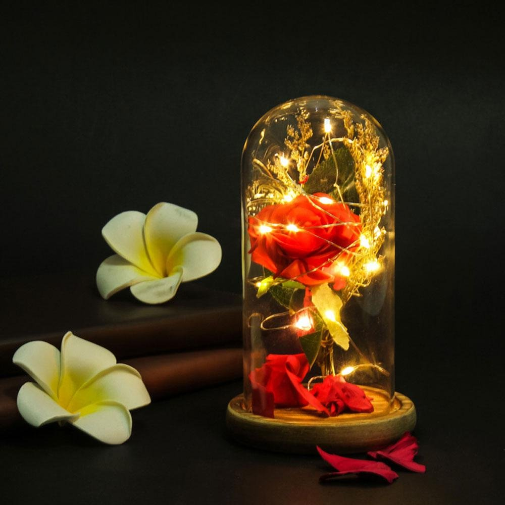 FOONEE Beauty And The Beast Rose Rose Glass Dome Red Silk Rose Lamp LED Light Rose in Glass DIY Handmade Romantic Enchanted Love Forever Gift for Wedding, Valentine's Day, Anniversary, Birthday