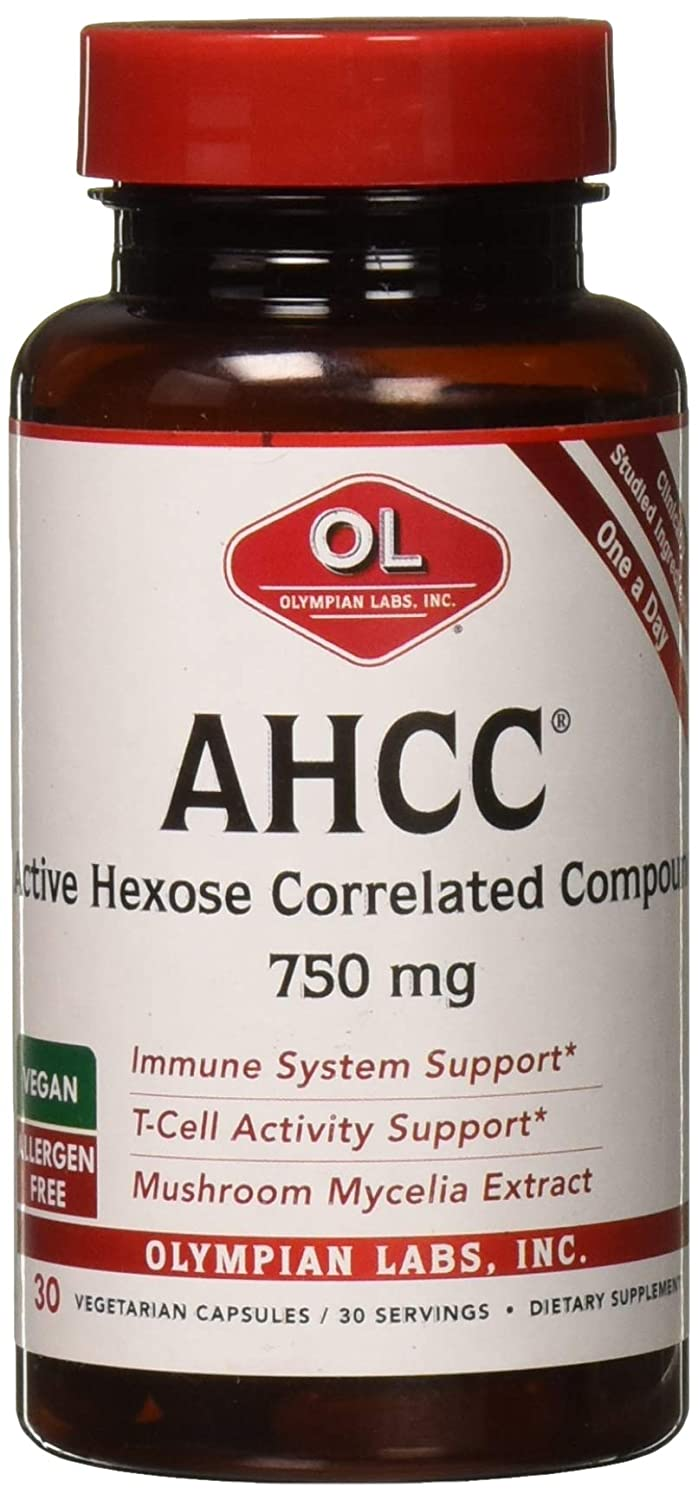 Olympian Labs Premium AHCC Supplement 750mg of AHCC per Capsule Supports Immune Health, Liver Function, and Natural Killer Cell Activity- 30 Caps