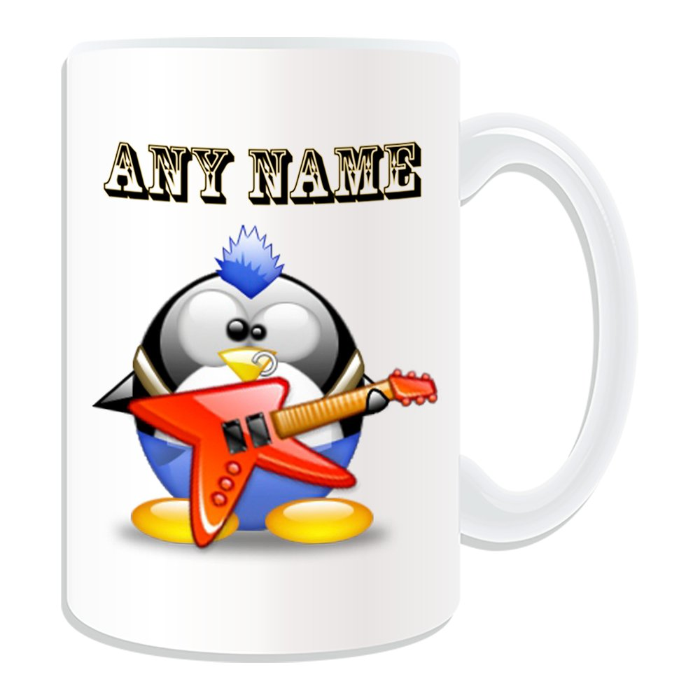 Regalo personaliseitonline - Taza de la guitarra eléctrica grande del volcán (pingüino en traje de tema, blanco) - nombre/mensaje en su único - Punk ...