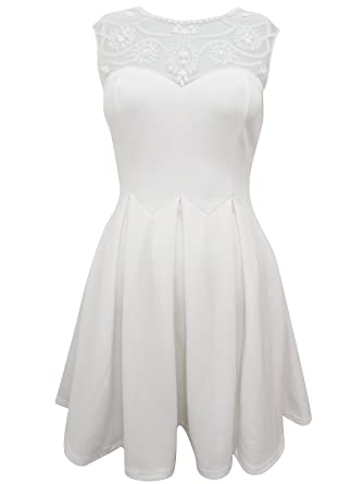 Ladies Ex Lipsy White Embellished Mesh Yoke Skater Dress. RRP  £50. Sizes 60be01ab2