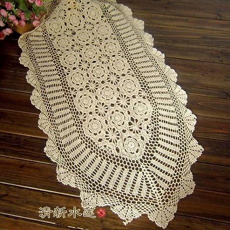 Toallas de té de la flor de ganchillo de juego hecho a mano Camino de mesa, camino de mesa TV de chino Vintage Hollow-Out país tabla corredores y alfombras ...