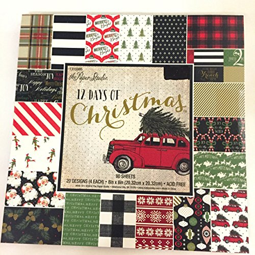12 Days of Christmas 8x8 Inch Paper Pad, Vintage, Plaid, Candy Cane, Sleigh, Snow, Old Red Cars