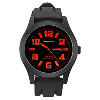 Mountaineer Mens Sport Watch Black Silicone Band Oversized Big Face Orange Numerals Reloj Hombre MN8041