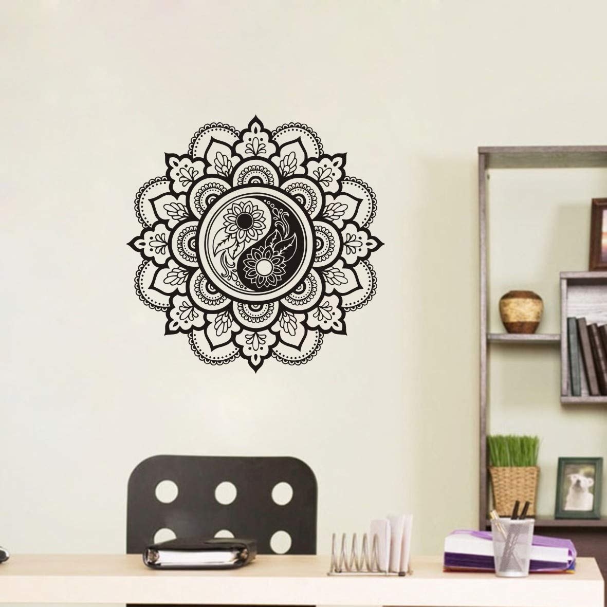 Yin Yang Mandala Flower Room Decoration Vinyl Wall Sticker Art Removable Poster Kids Nursery Bedroom Wall Decal LY941 Black