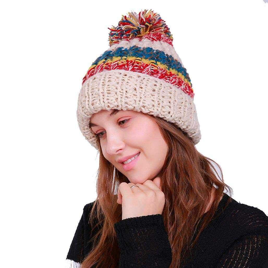 bd6e5366d20cf1 Hunputa Women Hat Winter, Womens Winter Multicolor Striped Slouchy Knit  Beanie Chunky Faux Fur Pom Poms Hat Bobble Hat Ski Cap Skully Hat (Beige)  at Amazon ...