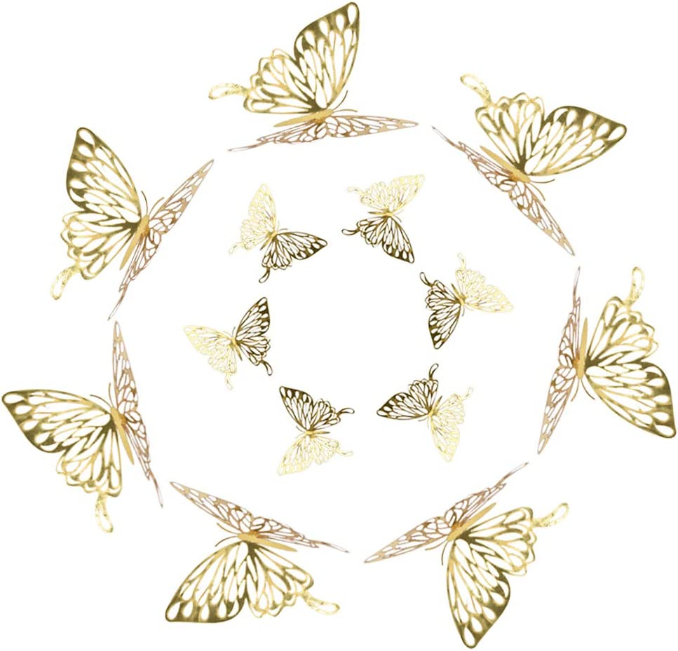 Ushinemi Wall Decals for Kids Rooms, 3D Butterfly Nursery Wall Decor, Girl Bedroom Wall Decor, 36PCS, Gold
