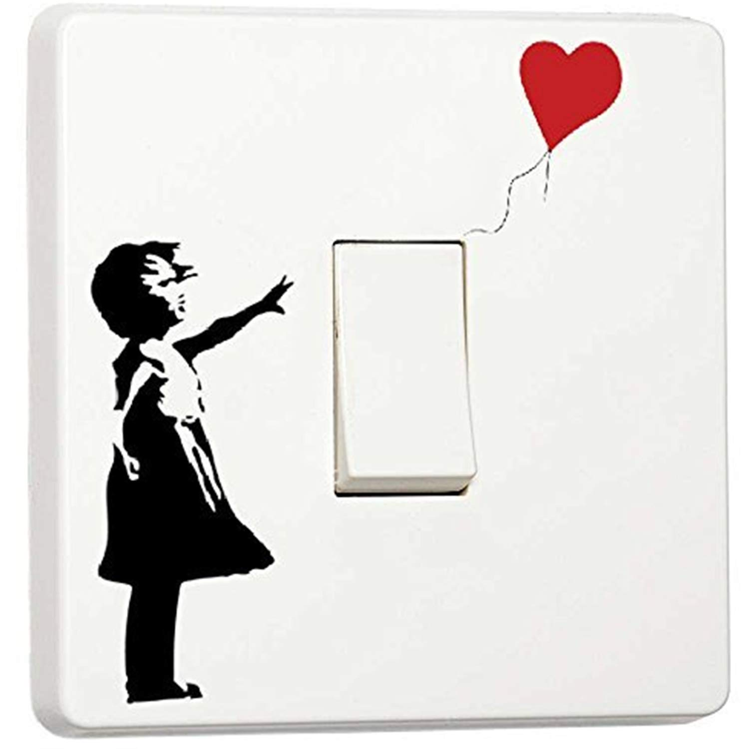Banksy Style Graffiti Art Girl with Red Balloon Single Light Switch Cover Vinyl Sticker Decal JustStickers®