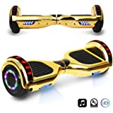 "6.5"" inch Chrome Hoverboard Electric Smart Self Balancing Scooter With Built-In Bluetooth Speaker LED Wheels and LED Side Lights- UL2272 Certified"