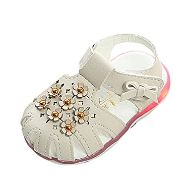 b83c9a983 Amazon.com  FORESTIME baby shoes Cute Baby Girls Floral Luminous ...