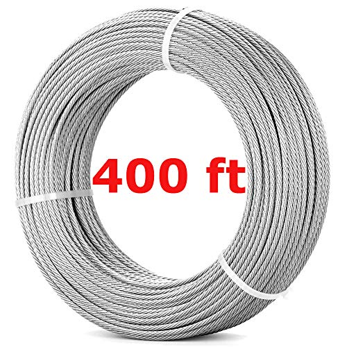 316 Stainless Steel Wire Rope - 400FT (122m) | 7x7 Marine Grade Stainless Steel Aircraft Cable | 1/8'' Stainless Steel Cable Railing for Deck Stair Railing Hardware DIY Balustrade