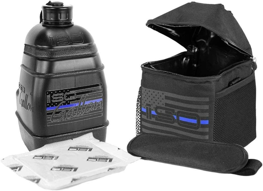 Blackout BPA FREE Made in USA AND ISOGALLON HD Blackout 1 Gallon Jug includes ISOBRICK /& Shoulder Strap UL Certified Impact Resistant ISOJUG COMBO Insulated Durable One Gallon Water Jug Holder