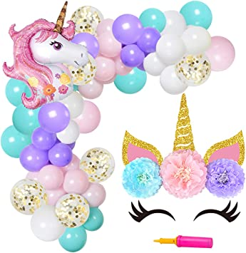 JOYMEMO Unicorn Balloon Arch & Garland Kit 90 Pack Globos Unicorn ...