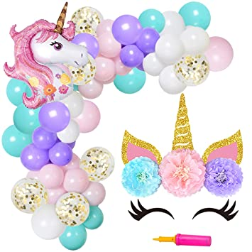JOYMEMO Unicorn Balloon Arch & Garland Kit 90 Pack Globos ...