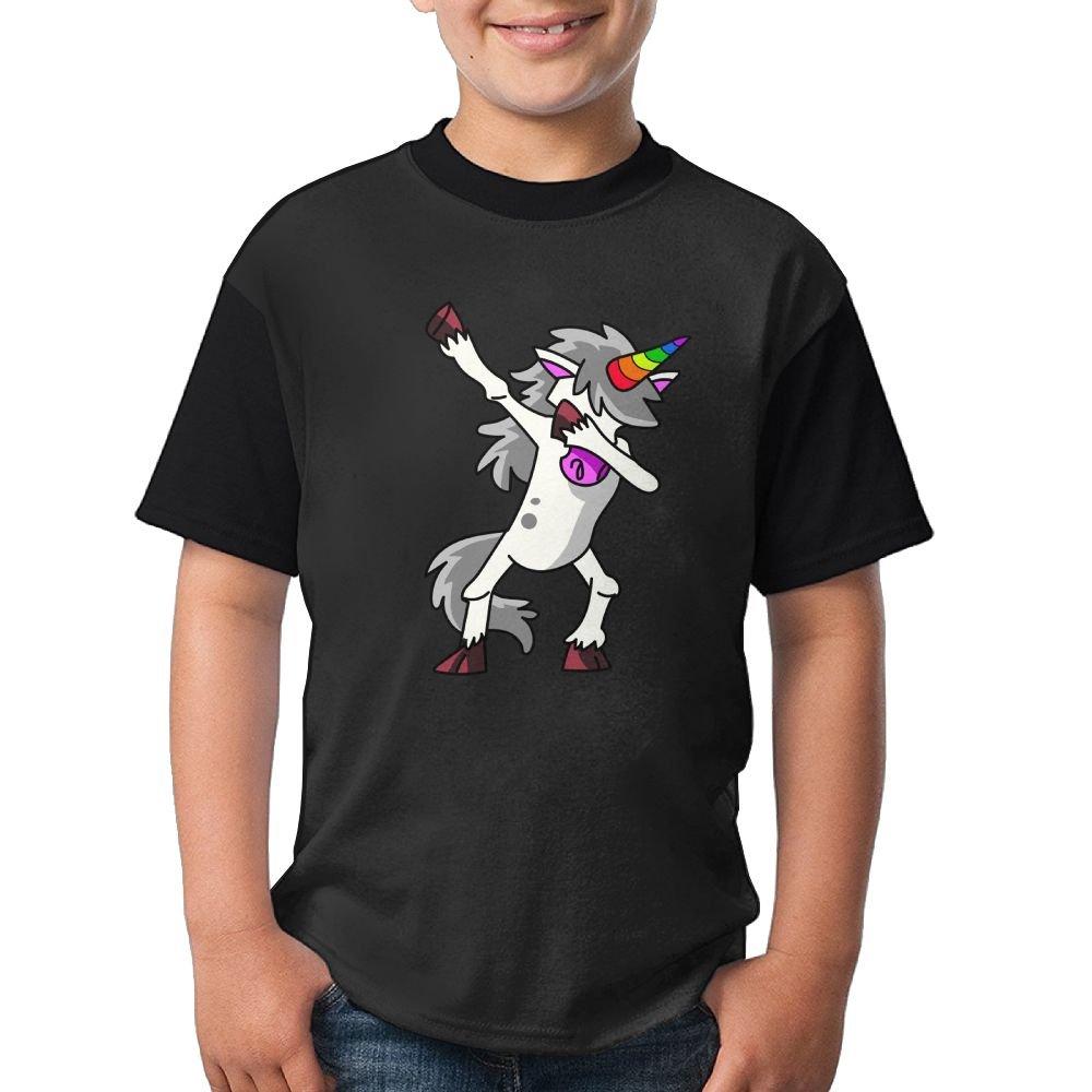 Unicorn Cute Dab Child Running T-Shirt 3D Printed Tee Black Tops Large