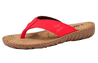121b7ad98ad72 DQQ Women's Red Leather Flip Flop Sandal 6.5 US