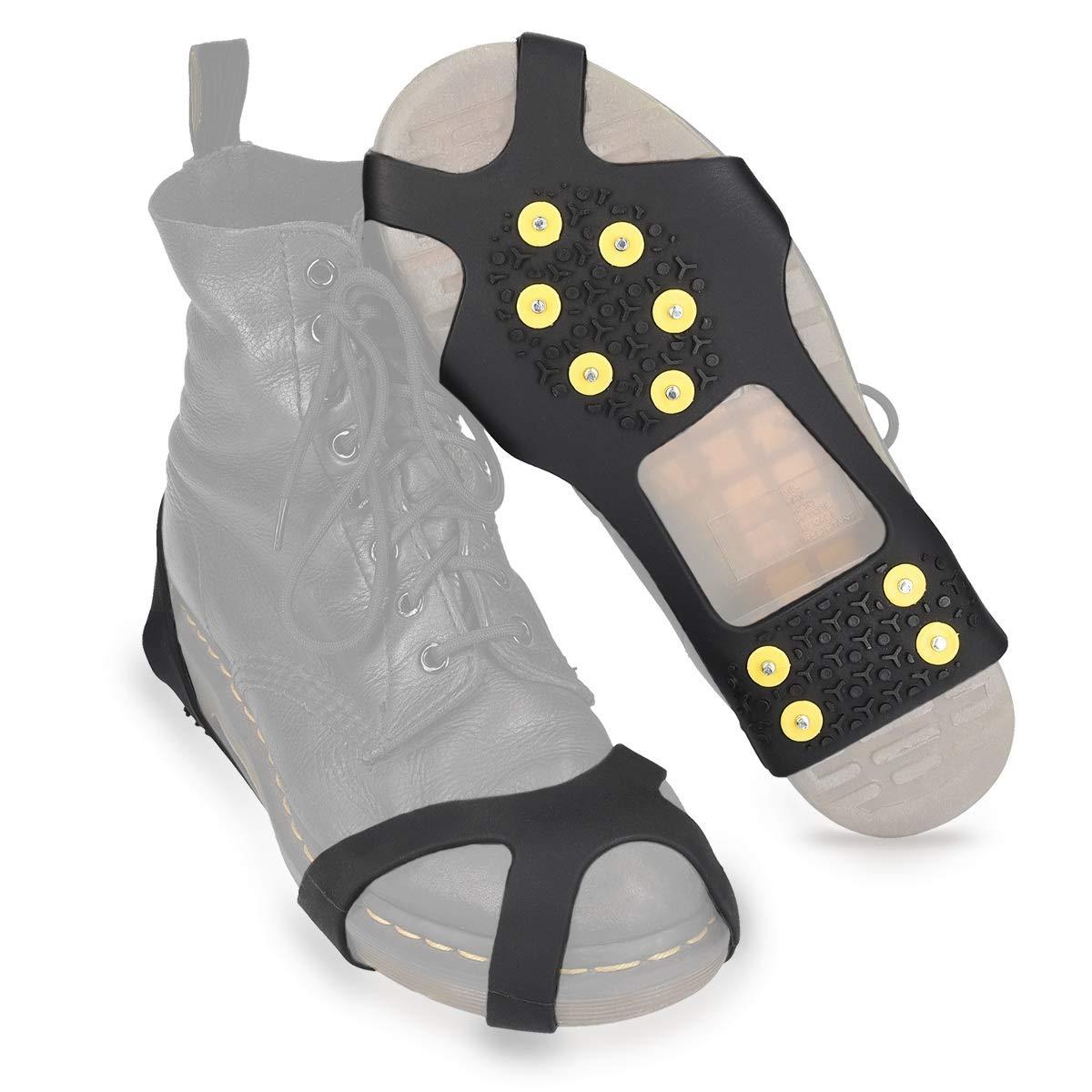 Navaris Crampon Neige pour Chaussure - Paire Crampon antidérapant en Silicone avec 10 Pointes en Acier - Ski Glace verglas randonnée - Taille M et L