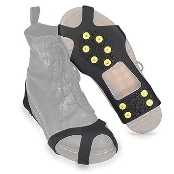 most popular new style website for discount Navaris Crampon Neige pour Chaussure - Paire Crampon antidérapant en  Silicone avec 10 Pointes en Acier - Ski Glace verglas randonnée - Taille M  et L